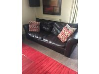 Deep large Brown leather sofa! Quick Sale needed