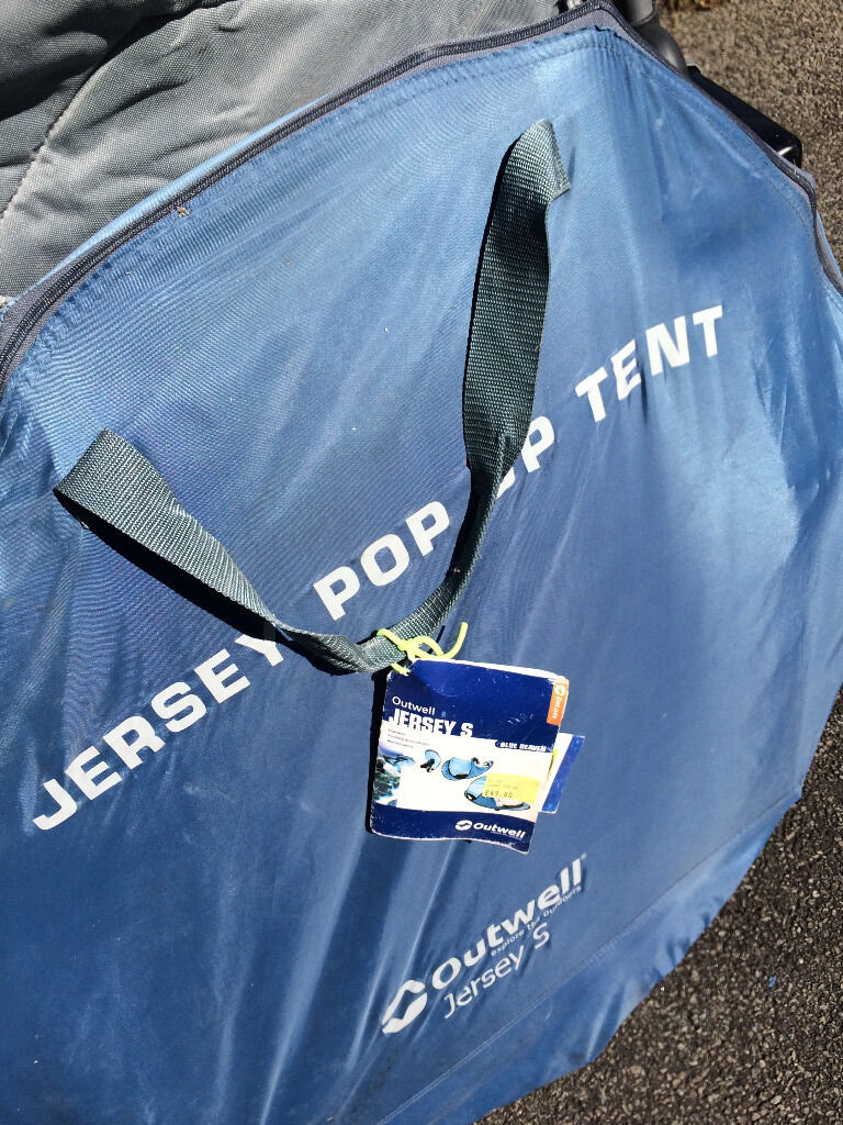 Outwell JerseyS Tunnel Tentin Liskeard, CornwallGumtree - Two man pop up tent for sale with full instructions. Dimensions 140x240x92cm Breathable polyester sides in blue, Nylon floor, fibre glass poles, fire retardant, light weight with carry bag Good condition