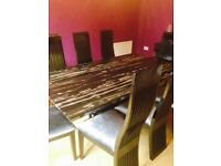 Furniture Village modern table, 8 chairs and sideboard
