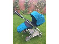 Mamas & Papas Urbo Pushchair in petrol blue with car seat adapters, very good condition