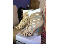 Beige Cut Out Heels, Size 5