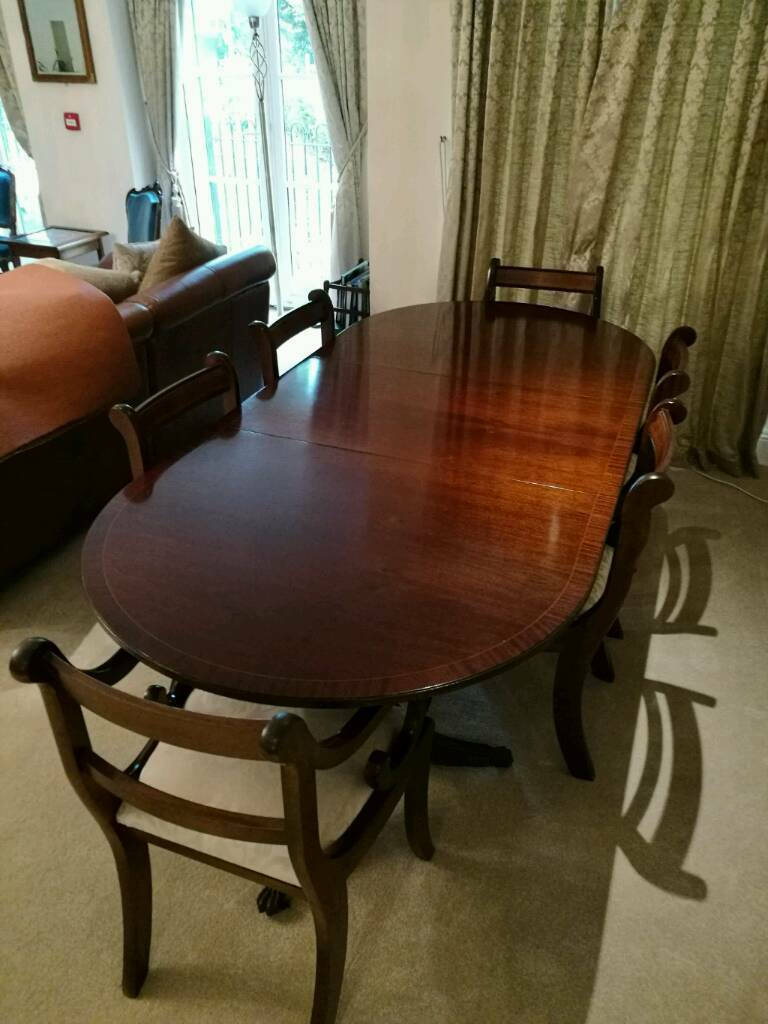 Mahogany Dining Table Extendable 6 Chairs Protector