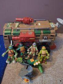 TMNT ninja turtle van, sidecar and figures