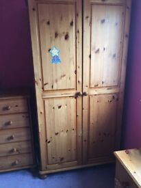 Wardrobe, drawers and bedside unit