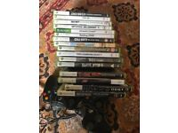 Xbox 360, 2 controllers, 2 guitars, 16 games