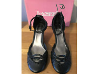 Ladies Black Wedge Ankle Strap Shoes - Size 5 by I-Candy,