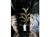 three tall mother of pearl oriental vases forsale