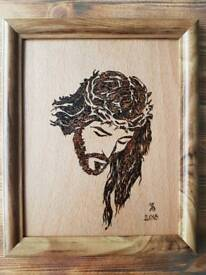 Pyrography on wood
