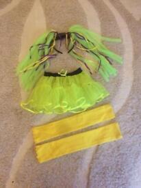 Kids 80's fancy dress outfit costume headband tutu & leg warmers