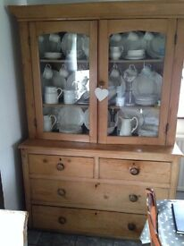 OLD ANTIQUE PINE GLAZED DRESSER
