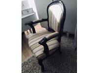 Elegant French reproduction armchair newly refurbished