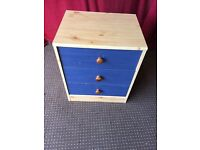 PINE EFFECT / BLUE BED SIDE DRAWS, CAN DELIVER