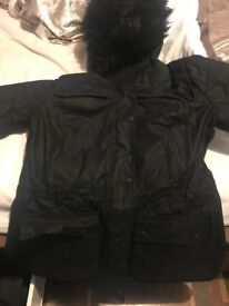 Genuine Womens black barbour waxed ratio jacket size 16