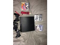 PS3-3 GAMES-3 CONTROLLERS-ALL WIRES-PLAYSTATION MOVE