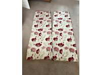 DARK RED & BEIGE PRINT CURTAINS WITH MATCHING TIE-BACKS