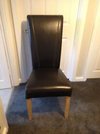 Faux Leather Dark Brown Dining Chair, Excellent Condition, Hardly Used, St Neots