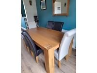 Dining table and six chairs 1.8 m x 1 m