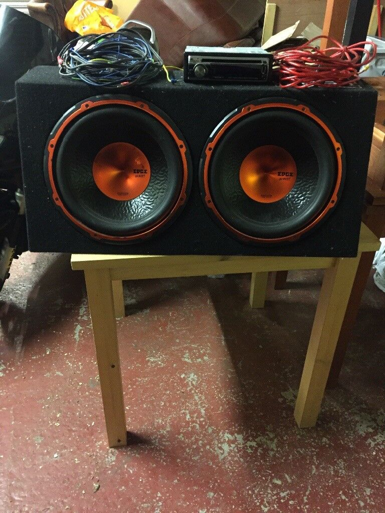 """Kenwood cd played and double 12"""" edge subwoofer"""