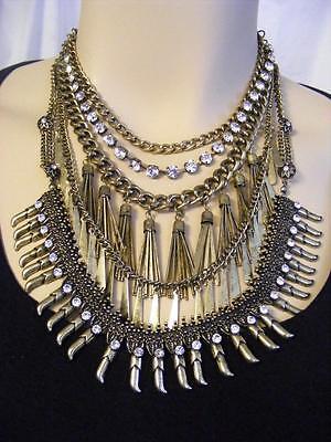 $68 Baublebar Brasstone *Amazon* Tassel Bib Necklace Clear Rhinestone Accents
