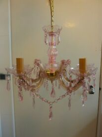 BNIB Pink and Gold, 5 Arm Chandelier, ceiling light fitting