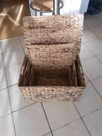 3 large wicker basket's