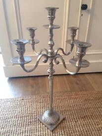 Tall Silver 5 Candle Candelabra Candlestick Christmas Wedding Table Decor