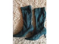 Ladies Green Suede Effect Boots Size 7