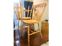 3 lovely stable light oak or pine kitchen chairs