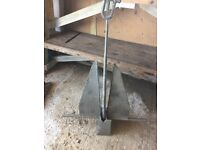 Danforth S1600 (25 pound) galvanised anchor and 20 feet of 9mm galvanised chain unused