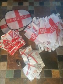 Job lot 5ftx3ft England flags, car flags, window shades and earrings