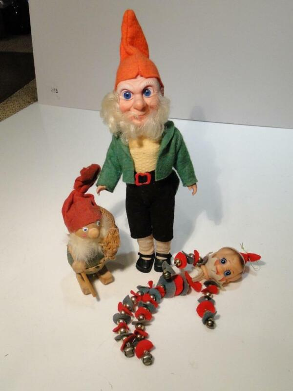 3 Vintage Christmas Elves Gnomes Crolly Doll Ireland