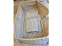 Star Cot Bumper with quilt cover and pillow case