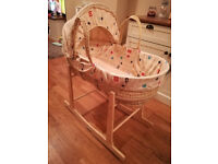 Moses Basket with Stand - Excellent Condition - Clair de Lune