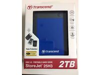 TRANSCEND STOREJET 25H3 2 TERABYTE USB 3.0 PORTABLE HARD DRIVE THREE STAGE ANTI SHOCK PROTECTION