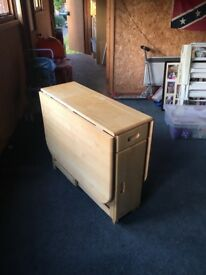 WOODEN BUTTERFLY FOLDING TABLE WITH CHAIR STORAGE