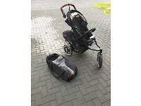 Phil & Teds double buggy with newborn cocoon, second seat insert, windbreak and rain cover