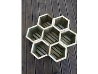 "Hexagonal wooden garden planter 25 cm deal x 75 cm across made with 1"" wood lovely sturdy planter"