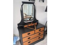 Antique chest of drawers and mirror