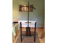 York weight bench with lat pull down attachment.