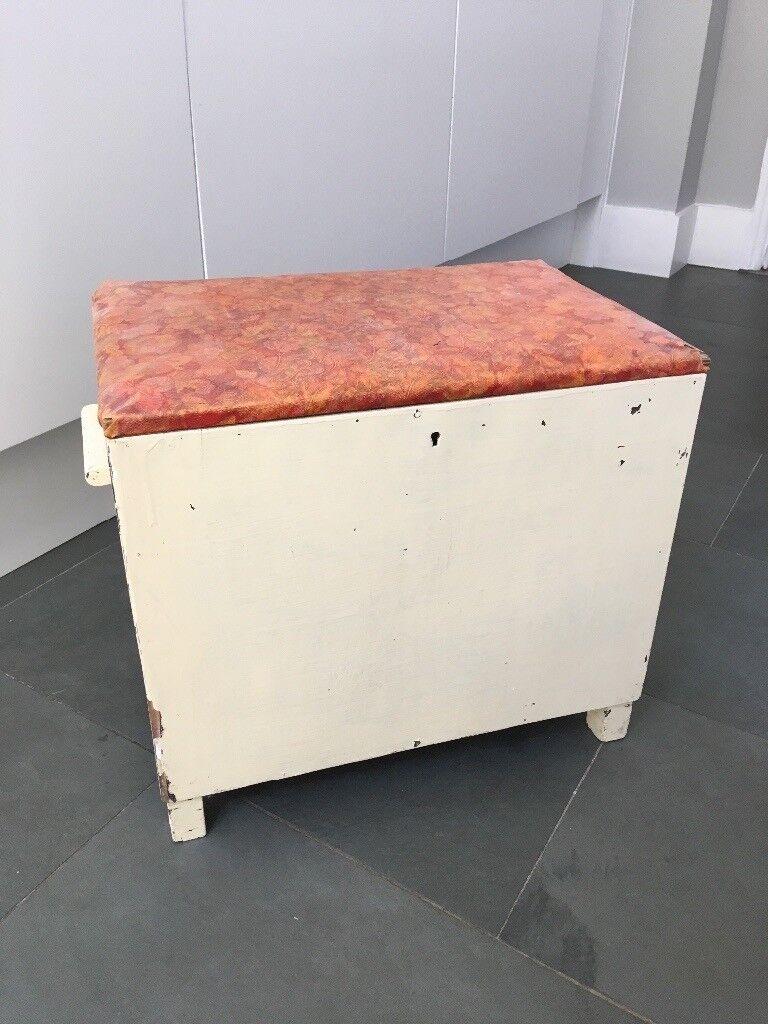 Vintage Bathroom Storage Stool Box In