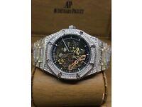 fc95cc019c1 Automatic Audemars piguet watch iced diamond skeleton automatic Royal Oak Cartier  santos