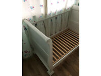 White baby cot bed with Sound Asleep Micro Sprung Cot Bed Mattress