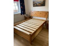Solid wood double bed with under bed drawers