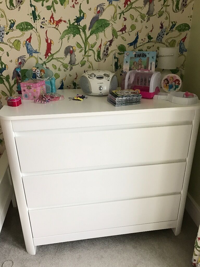 Childrens 3 drawer white dresser by Troll Sunin Kings Hill, KentGumtree - Childrens 3 drawer chest in white by Troll Sun childrens furniture maker. Dimensions H915 x W1050 x D530mm Drawers are large and great for organising baby clothes, blankets and nappies etc. Very good condition. One small mark on the top (see first...