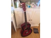 Acoustic guitar, great quality, with capo and some picks