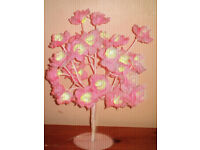 beautiful pink rose flower bedside lamp or childrens room shabby chic light