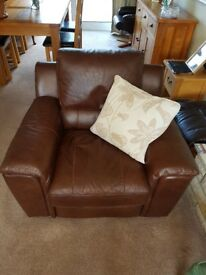Leather 3 Seater Sofa & Leather Arm Chair