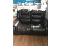 Two seater three seater sofa leather both have end recliners