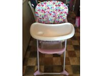 Mothercare pink butterfly highchair