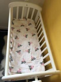 White john lewis swing crib with brand new mattress